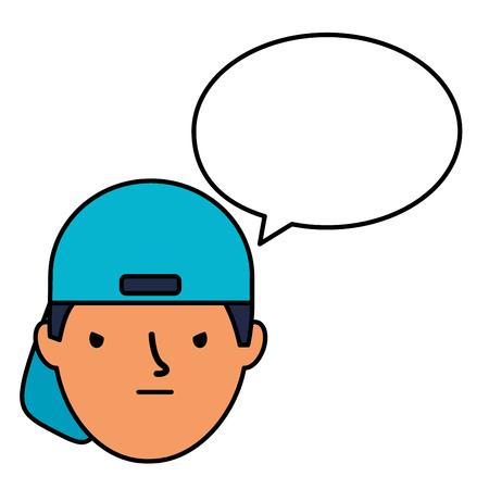 boy face sad speech bubble vector illustration