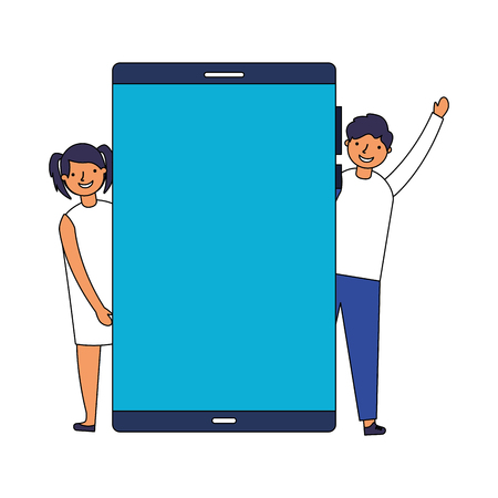 boy and girl with smartphone device vector illustration