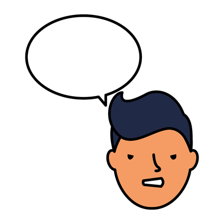 boy face sad speech bubble vector illustration