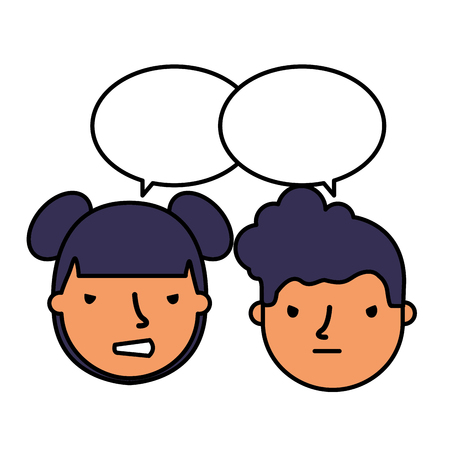 boy and girl sad emotion speech bubble vector illustration Standard-Bild - 114635979