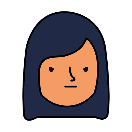 girl face sad expression gesture vector illustration 일러스트