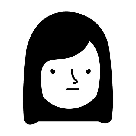 girl face sad expression gesture vector illustration