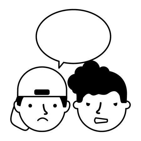 boys face sad expression speech bubble vector illustration Standard-Bild - 126463112