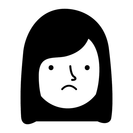 girl face sad expression gesture vector illustration Archivio Fotografico - 114635072