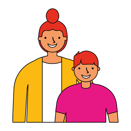 mother and son on white  background vector illustration Illustration
