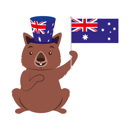 wombat with hat australian flag celebration vector illustration