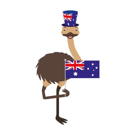 emu with hat australian flag celebration vector illustration