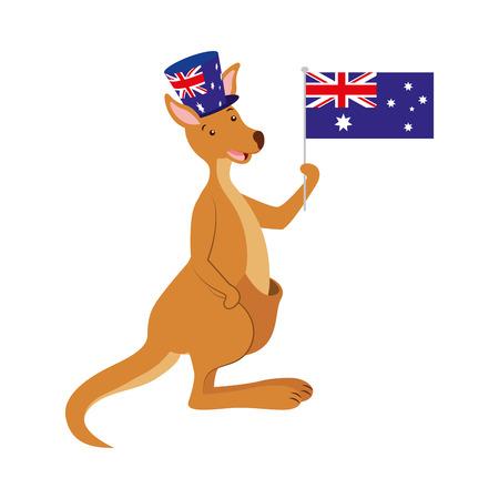 Canguro con sombrero bandera australiana celebración ilustración vectorial