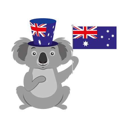 koala with  hat australian flag celebration vector illustration