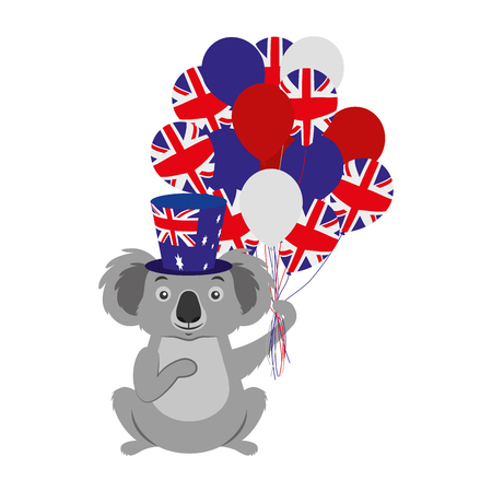 koala with hat and balloons australian flag vector illustration