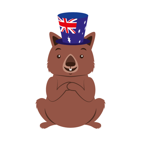wombat with hat australian celebration vector illustration Çizim