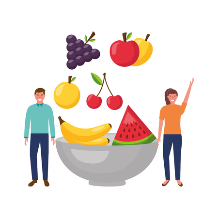 woman and man fruits in bowl vector illustration Banque d'images - 114637063