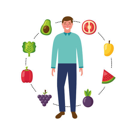 man with fruits and vegetables healthy food vector illustration Ilustração