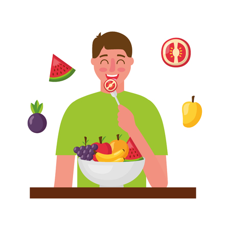 man eating tomato healthy food vector illustration Standard-Bild - 114637065