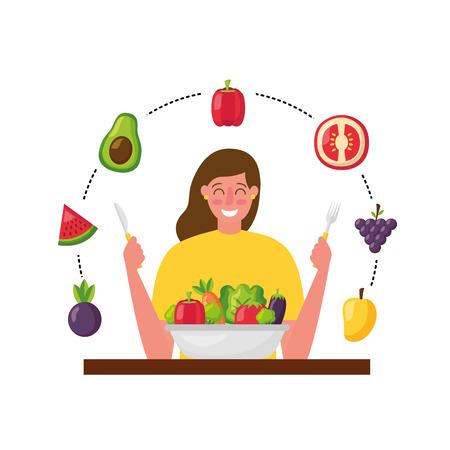 woman with fork and knife vegetable healthy food vector illustration Standard-Bild - 126463134