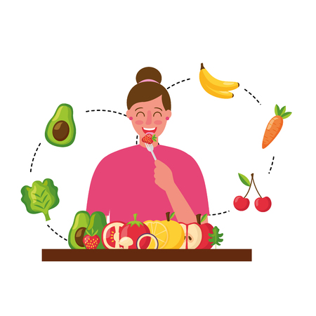 woman eating healthy food with fork vector illustration Stock Illustratie