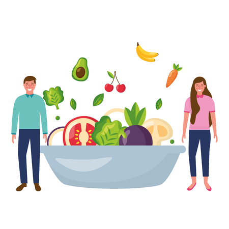 man and woman with bowl healthy food vector illustration