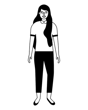 woman standing on white background vector illustration