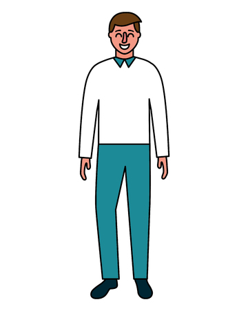 man standing character on white background vector illustration