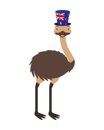 emu with  hat australian flag celebration vector illustration 写真素材 - 114637107