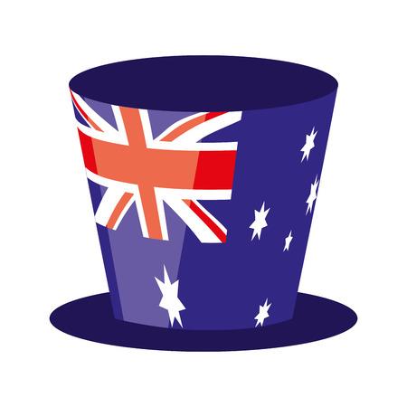 cappello a cilindro bandiera australiana simbolo illustrazione vettoriale