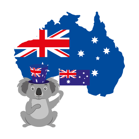 koala with hat australian flag map vector illustration