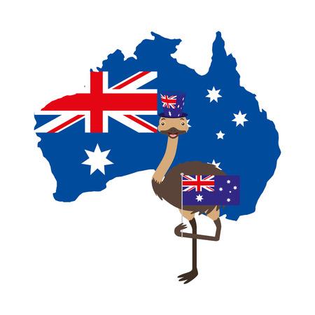 emu with hat australian flag map vector illustration Ilustracja