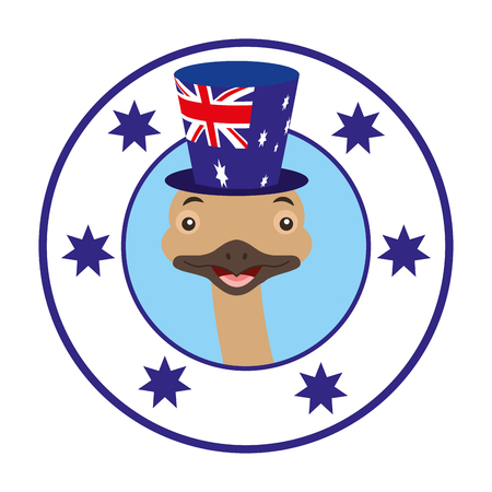 emu hat australian flag emblem vector illustration Illustration