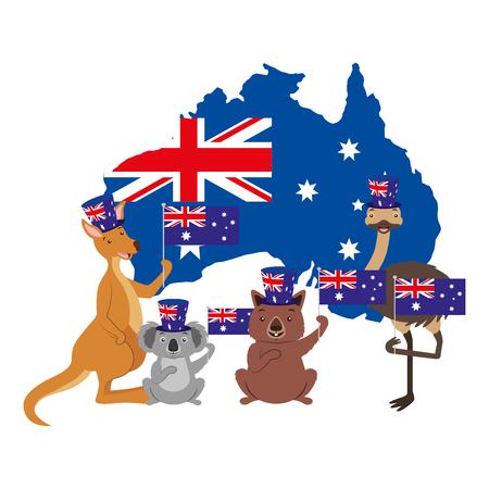 kangaroo koala wombat and emu australian flag map vector illustration