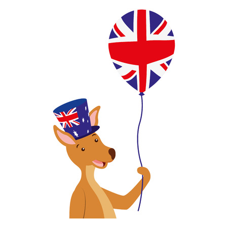 kangaroo with hat and balloon australian celebration vector illustration