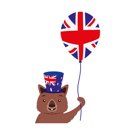 wombat with hat and balloon australian celebration vector illustration
