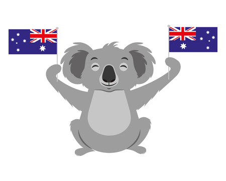 cute koala with two australian flags vector illustration