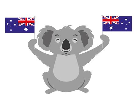 Lindo koala con dos banderas australianas ilustración vectorial Ilustración de vector