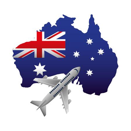 australian flag map flying airplane vector illustration Illustration