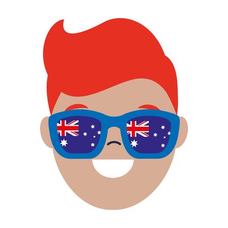 face man wearing australian sunglasses vector illustration