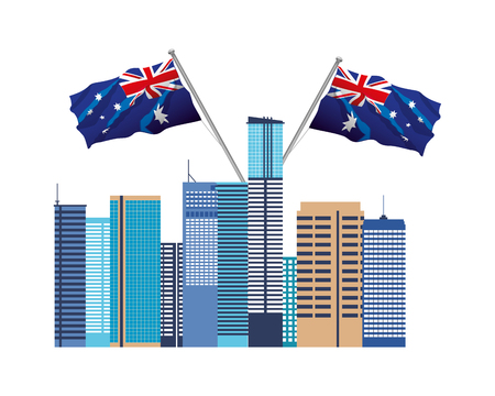 australian city with flags nation vector illustration 版權商用圖片 - 126463163