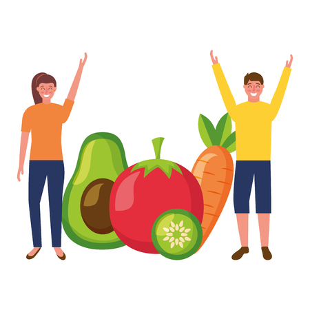 woman and man with vegetables healthy food vector illustration