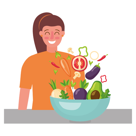 woman with bowl vegetables healthy food vector illustration