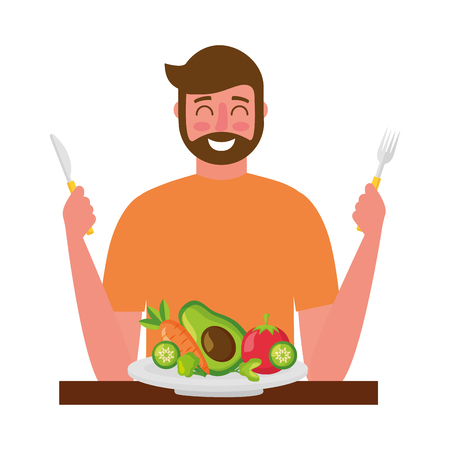 bearded man with fresh vegetable and fork knife vector illustration Standard-Bild - 126463183