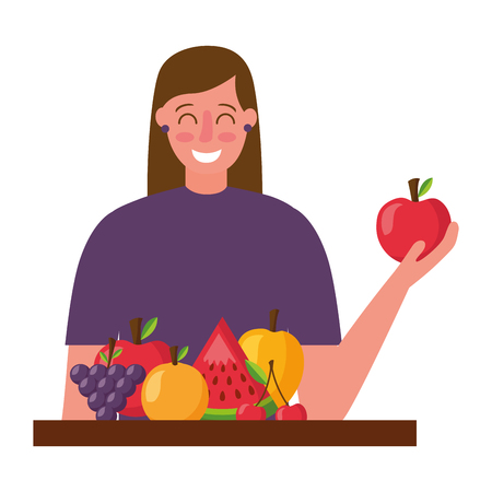 woman holding apple and fruits healthy food vector illustration Banque d'images - 114637118