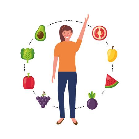 woman with fruits and vegetable healthy food vector illustration Ilustração