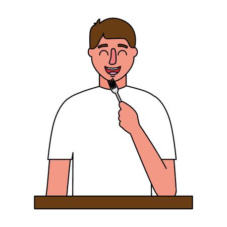 man holding fork cutlery white background vector illustration Çizim