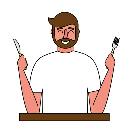 beardded man holding fork and knife vector illustration