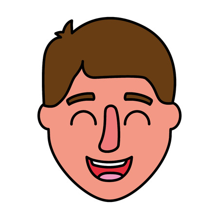man face happy on white background vector illustration