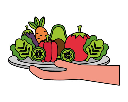 hand holding vegetables on dish healthy food vector illustration