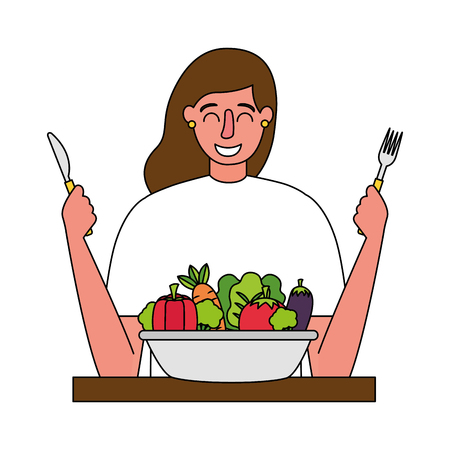 woman with fork and knife vegetable healthy food vector illustration Standard-Bild - 126463205