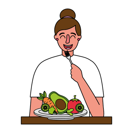 woman eating healthy food with fork vector illustration Banque d'images - 114635280