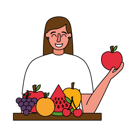 woman holding apple and fruits healthy food vector illustration Banque d'images - 114637188