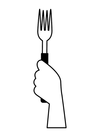 hand holding fork on white background vector illustration Çizim