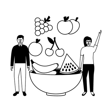 woman and man fruits in bowl vector illustration Banque d'images - 114637194